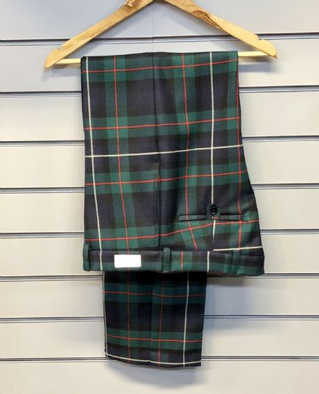 Lochcarron wool cloth Robertson tartan trousers, handmade in Scotland.